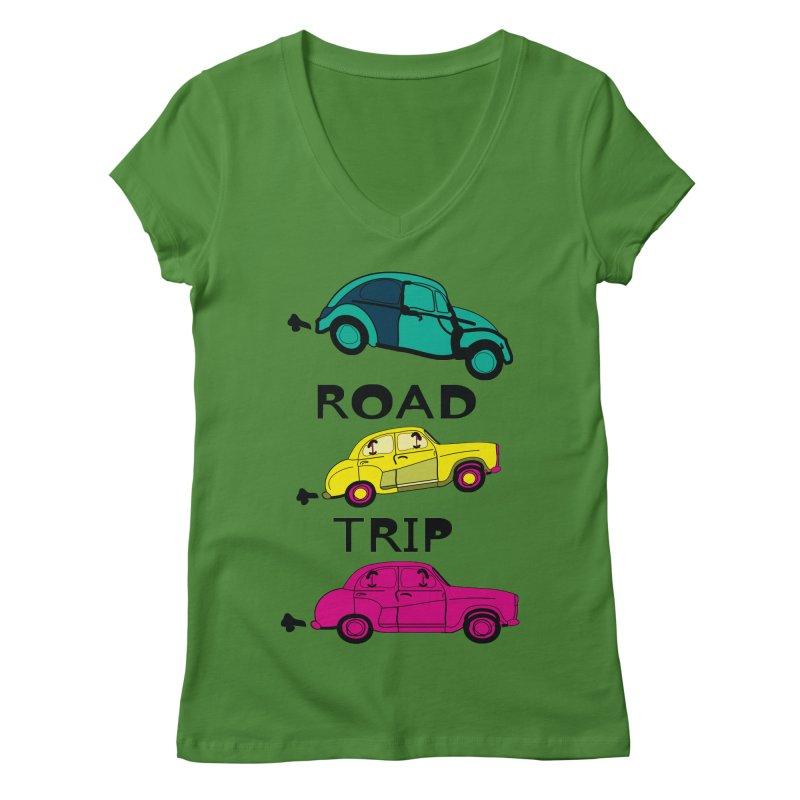 Road trip Women's V-Neck by cindyshim's Artist Shop