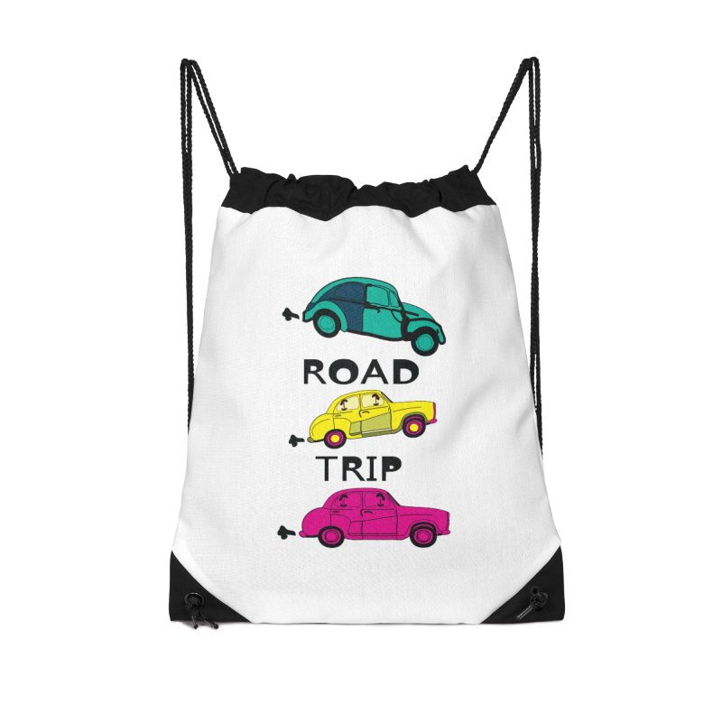 Road trip Accessories Drawstring Bag Bag by cindyshim's Artist Shop