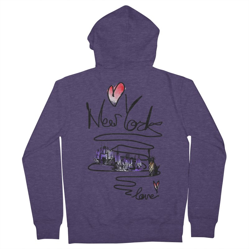 Love New York Men's French Terry Zip-Up Hoody by cindyshim's Artist Shop