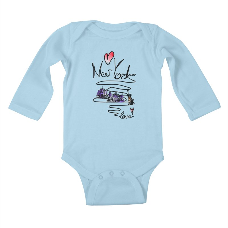 Love New York Kids Baby Longsleeve Bodysuit by cindyshim's Artist Shop