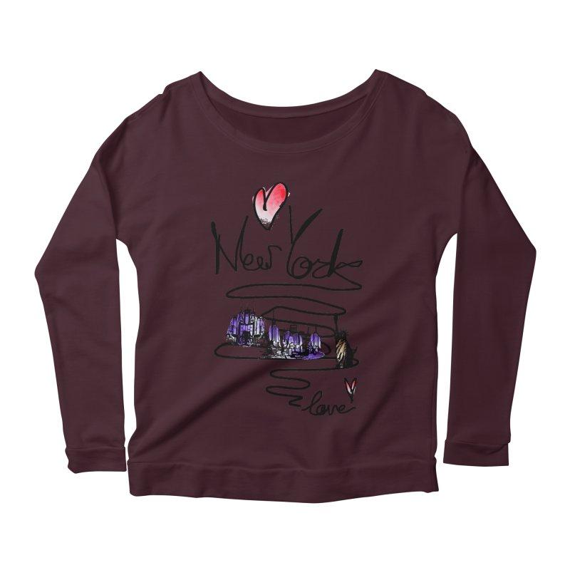 Love New York Women's Scoop Neck Longsleeve T-Shirt by cindyshim's Artist Shop