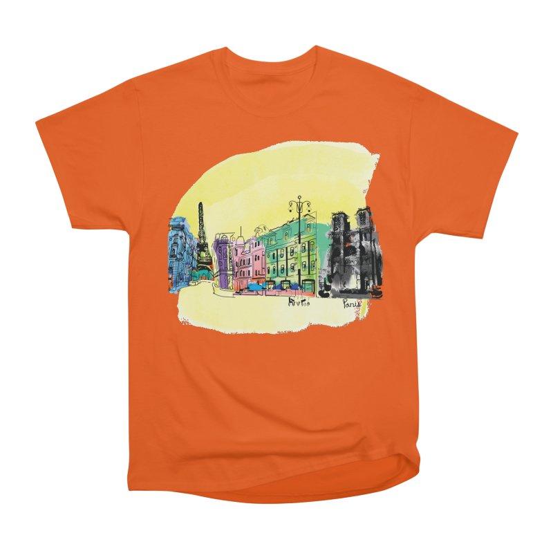 Travel in Paris Men's Heavyweight T-Shirt by cindyshim's Artist Shop