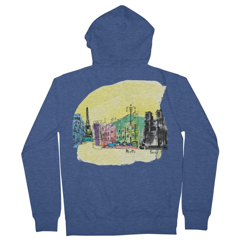 Travel in Paris Men's French Terry Zip-Up Hoody by cindyshim's Artist Shop