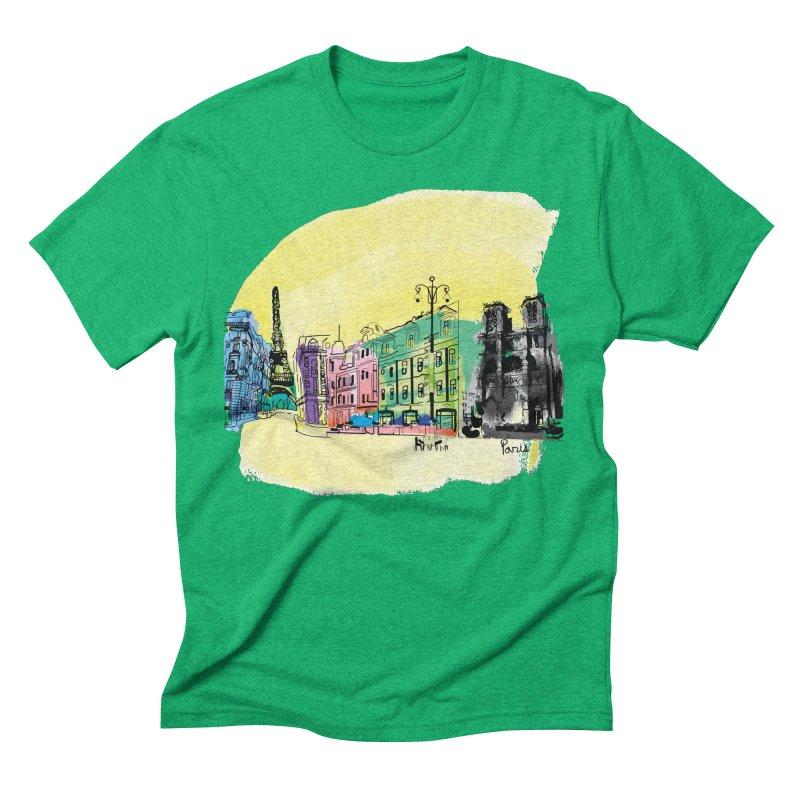 Travel in Paris Men's Triblend T-Shirt by cindyshim's Artist Shop