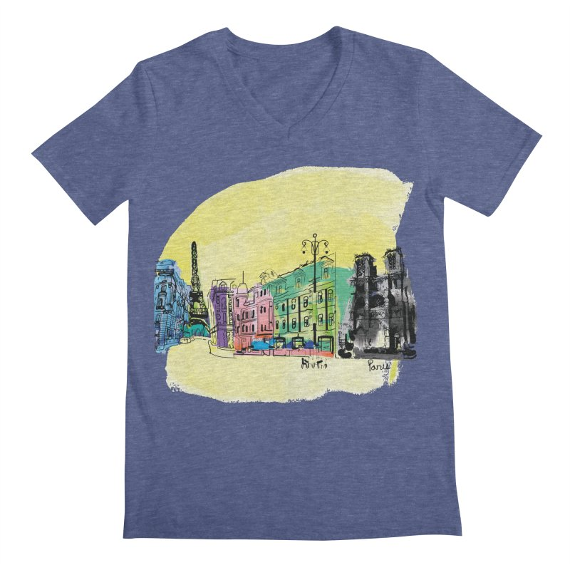 Travel in Paris Men's Regular V-Neck by cindyshim's Artist Shop