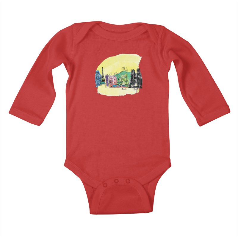 Travel in Paris Kids Baby Longsleeve Bodysuit by cindyshim's Artist Shop