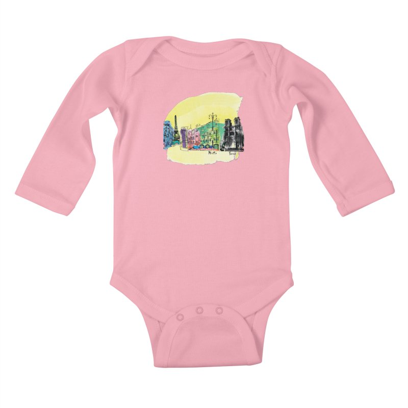 Travel in Paris Kids Baby Longsleeve Bodysuit by cindyshim's Artist Shop