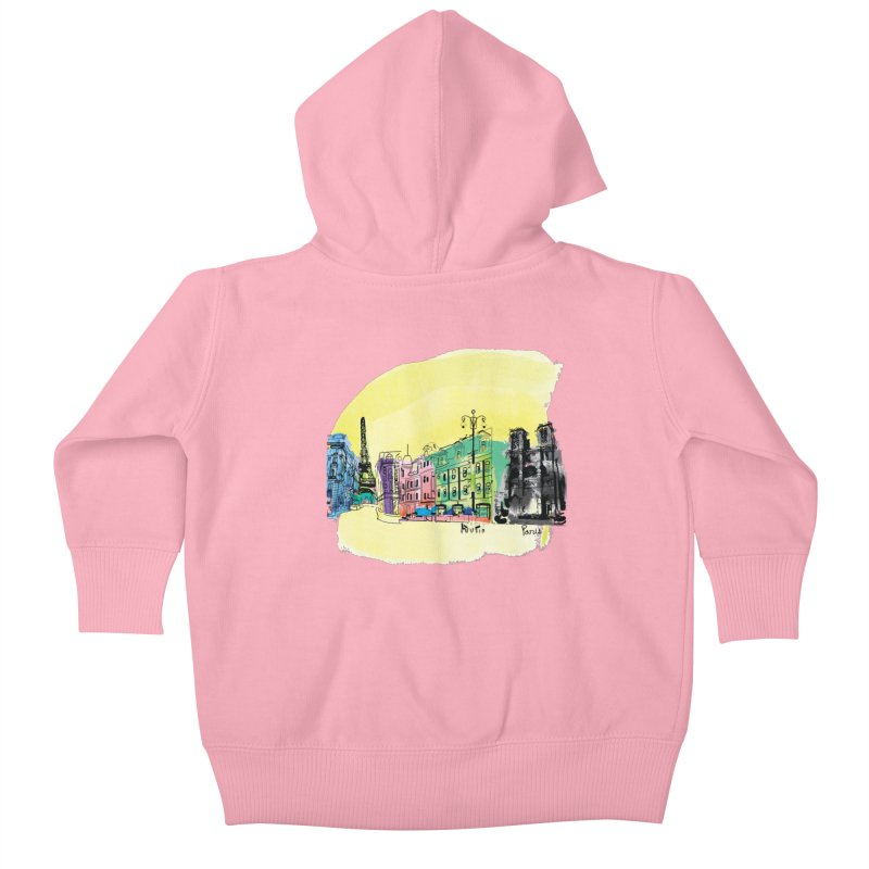 Travel in Paris Kids Baby Zip-Up Hoody by cindyshim's Artist Shop
