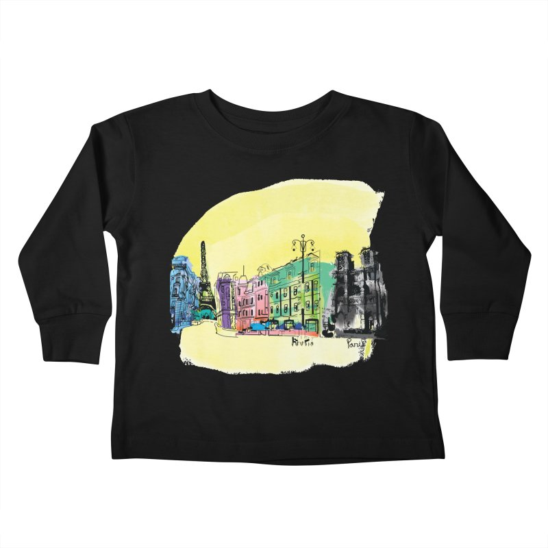 Travel in Paris Kids Toddler Longsleeve T-Shirt by cindyshim's Artist Shop