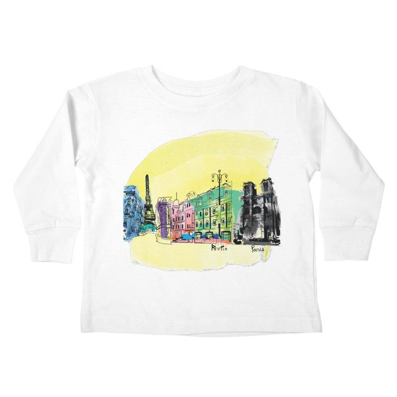 Travel in Paris Kids Toddler Longsleeve T-Shirt by cindyshim's Artist Shop
