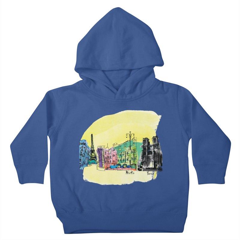 Travel in Paris Kids Toddler Pullover Hoody by cindyshim's Artist Shop