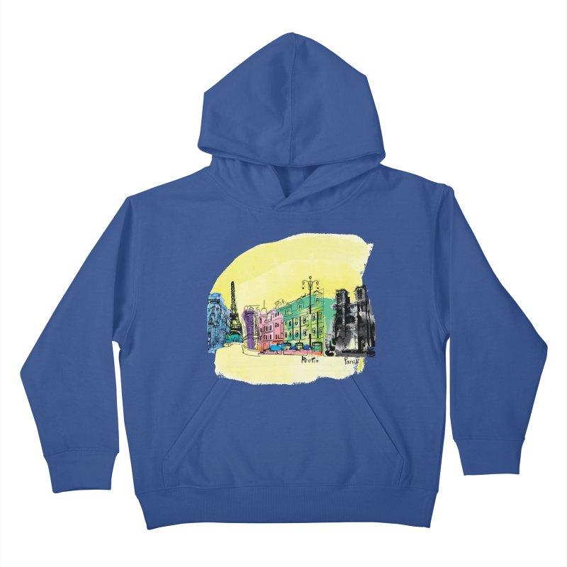 Travel in Paris Kids Pullover Hoody by cindyshim's Artist Shop