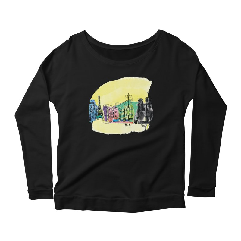 Travel in Paris Women's Longsleeve Scoopneck  by cindyshim's Artist Shop