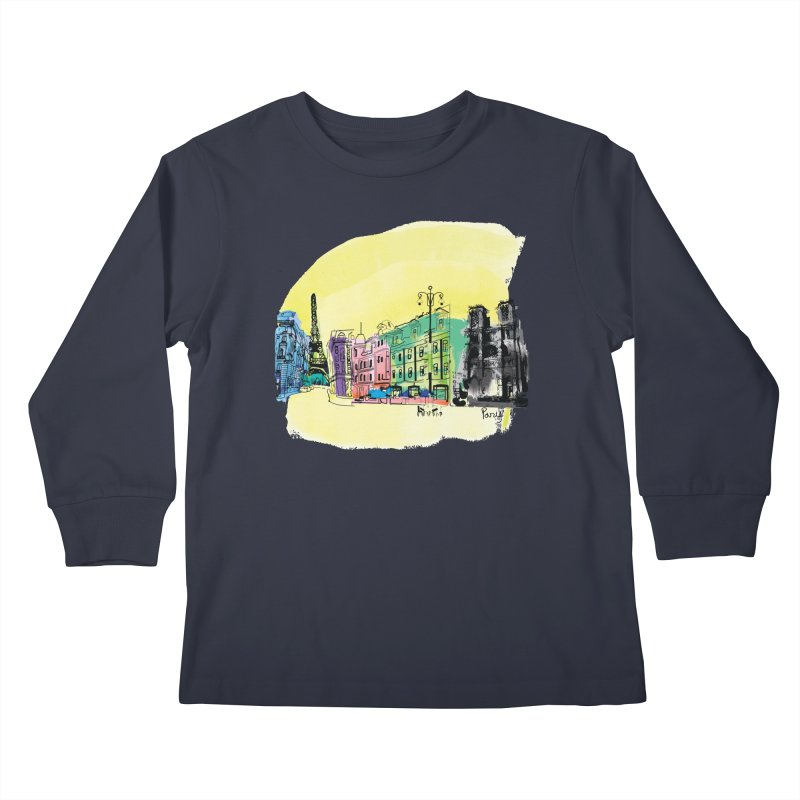Travel in Paris Kids Longsleeve T-Shirt by cindyshim's Artist Shop