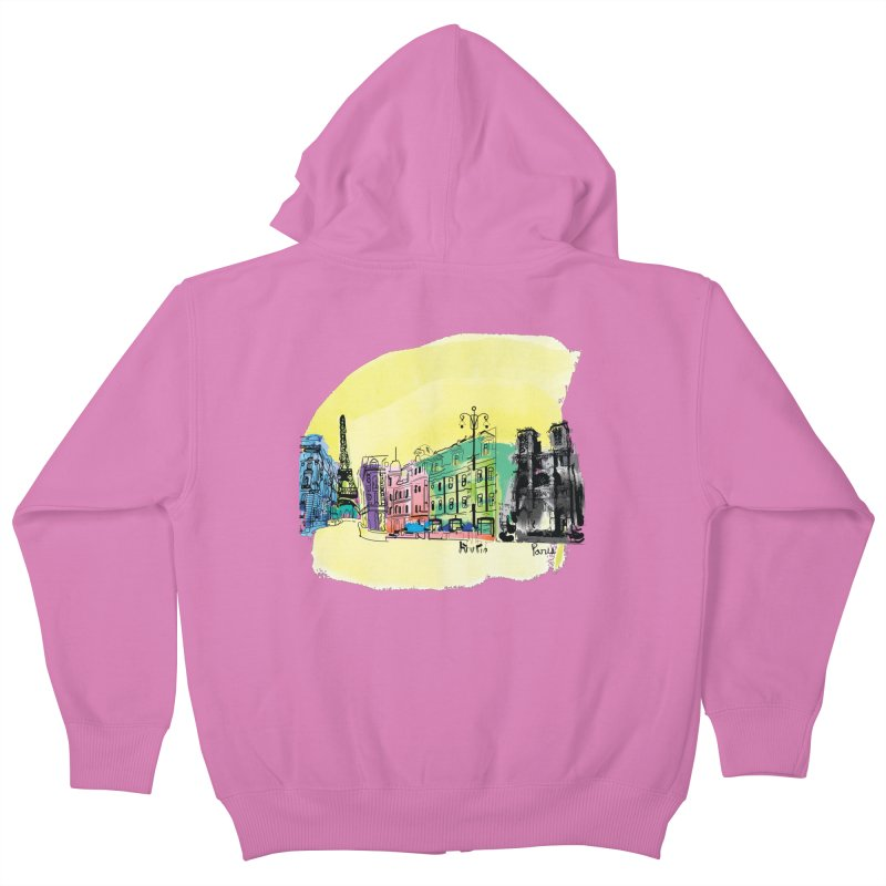 Travel in Paris Kids Zip-Up Hoody by cindyshim's Artist Shop