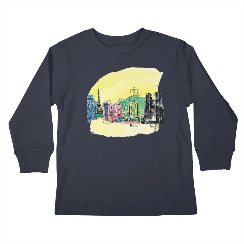 Travel in Paris Kids Longsleeve T-Shirt by cindyshim's Artist Shop