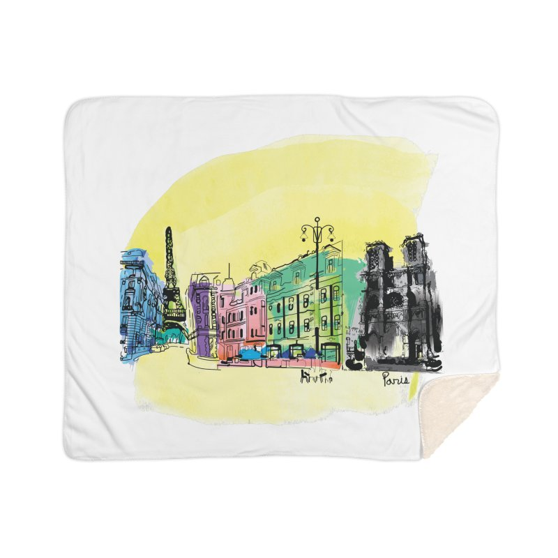 Travel in Paris Home Sherpa Blanket Blanket by cindyshim's Artist Shop