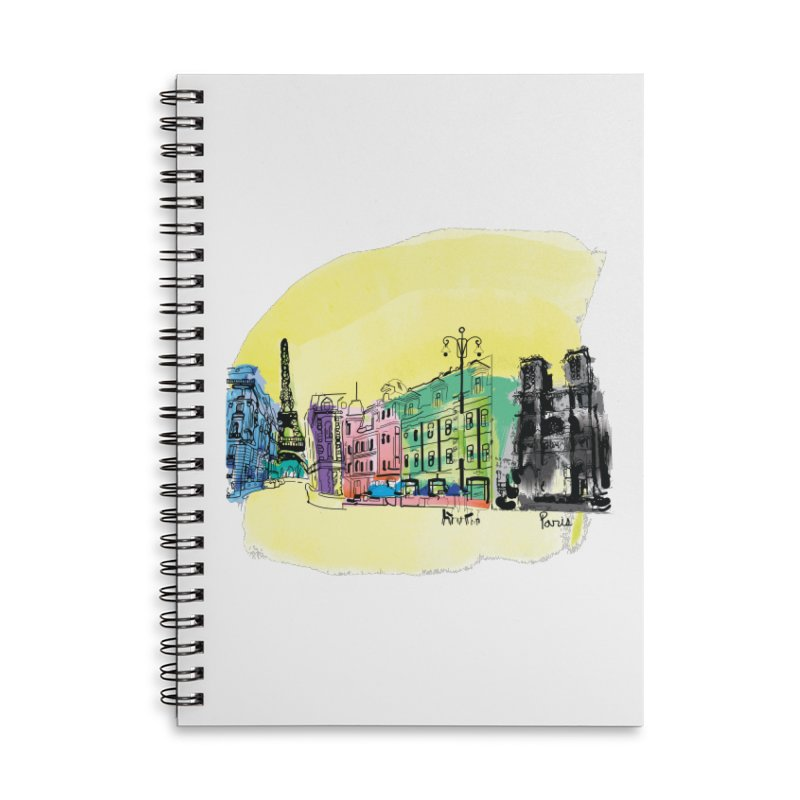 Travel in Paris Accessories Lined Spiral Notebook by cindyshim's Artist Shop