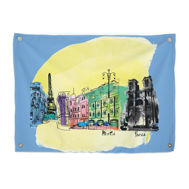 Travel in Paris Home Tapestry by cindyshim's Artist Shop