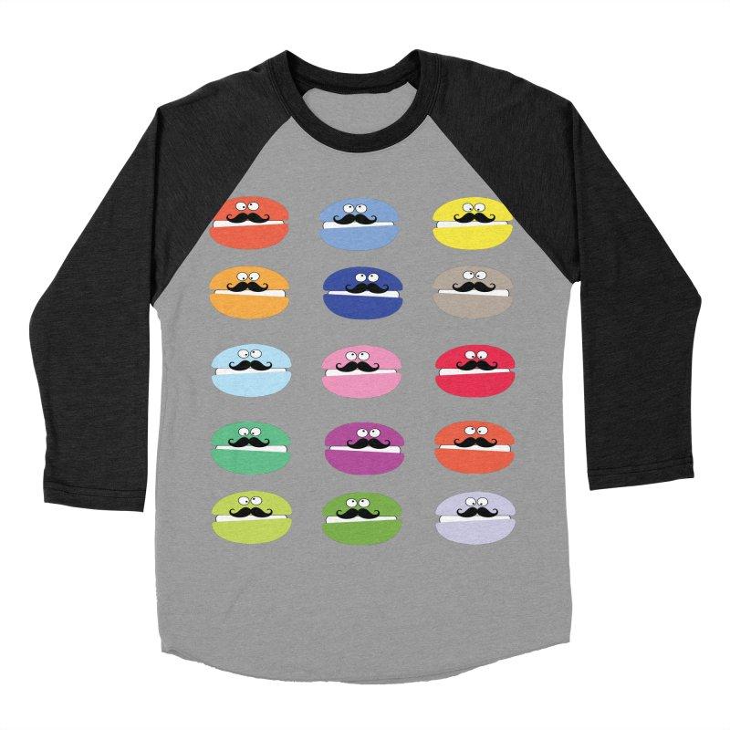 mustache macarons Women's Baseball Triblend Longsleeve T-Shirt by cindyshim's Artist Shop