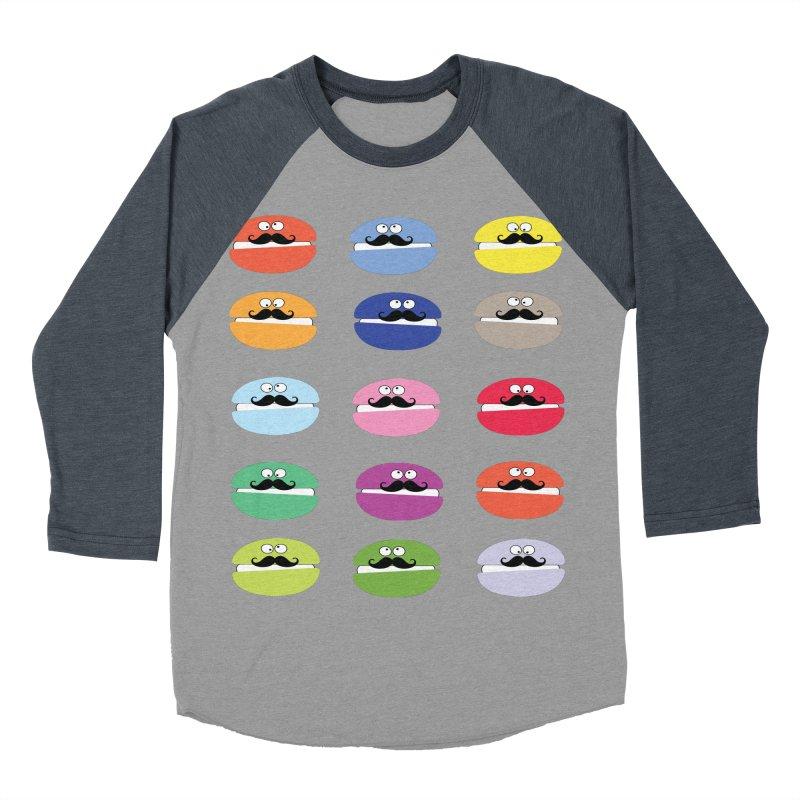 mustache macarons Men's Baseball Triblend Longsleeve T-Shirt by cindyshim's Artist Shop