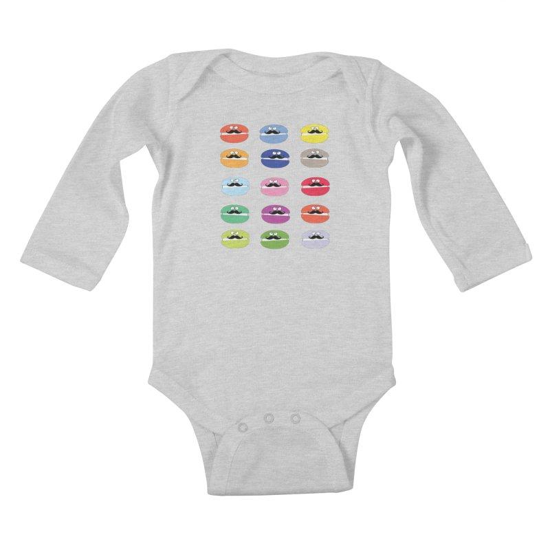 mustache macarons Kids Baby Longsleeve Bodysuit by cindyshim's Artist Shop