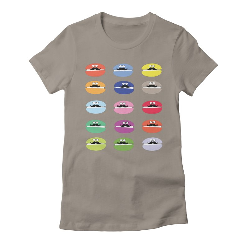 mustache macarons Women's Fitted T-Shirt by cindyshim's Artist Shop