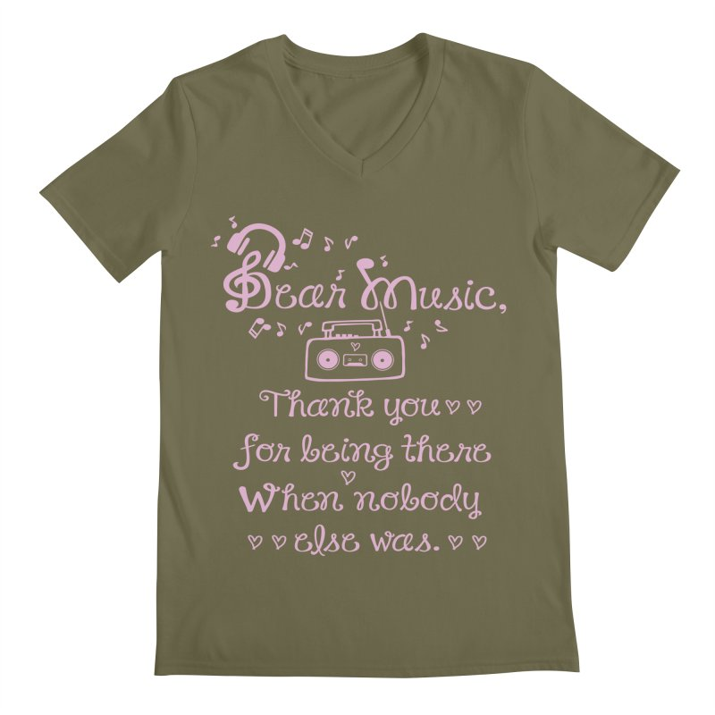 Dear music, thank you Men's Regular V-Neck by cindyshim's Artist Shop