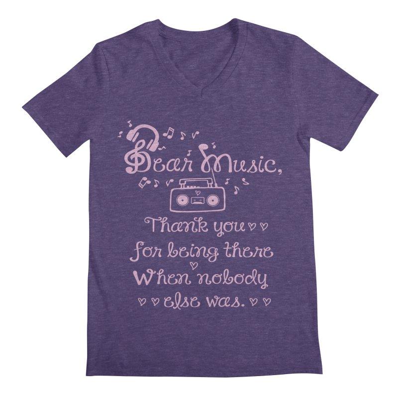Dear music, thank you Men's V-Neck by cindyshim's Artist Shop
