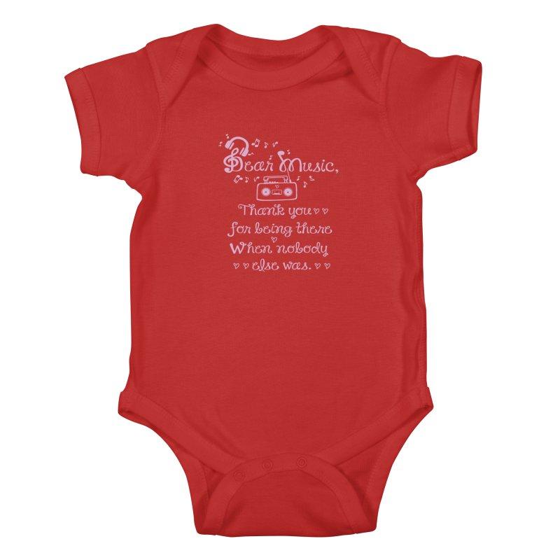 Dear music, thank you Kids Baby Bodysuit by cindyshim's Artist Shop