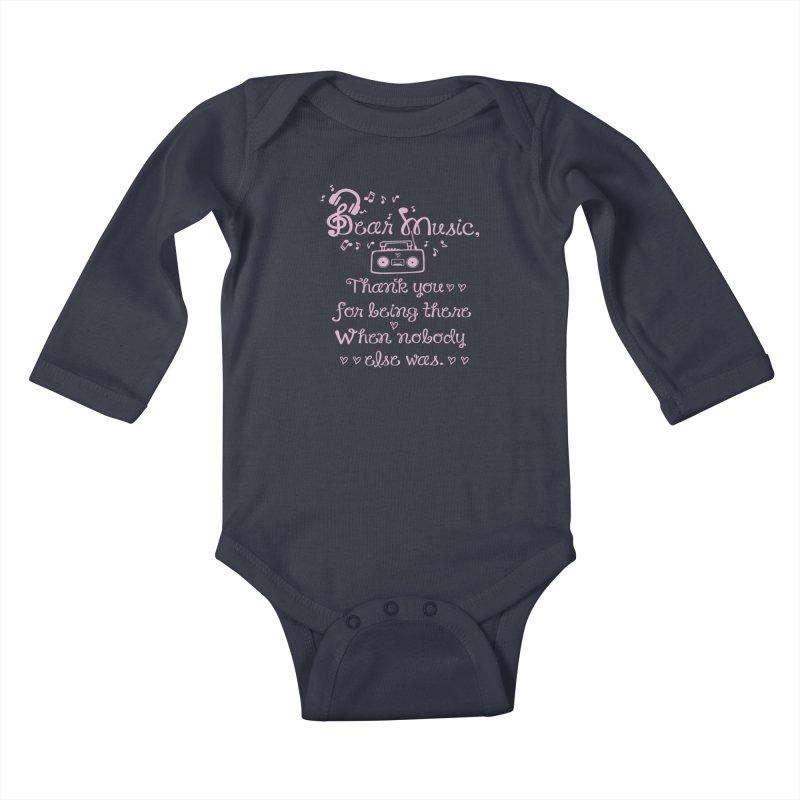 Dear music, thank you Kids Baby Longsleeve Bodysuit by cindyshim's Artist Shop