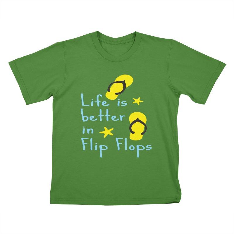 Life is better in flip-flops Kids T-Shirt by cindyshim's Artist Shop