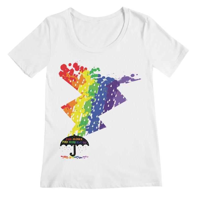No rain no rainbow Women's Regular Scoop Neck by cindyshim's Artist Shop