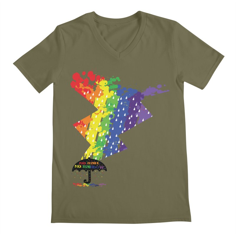 No rain no rainbow Men's Regular V-Neck by cindyshim's Artist Shop