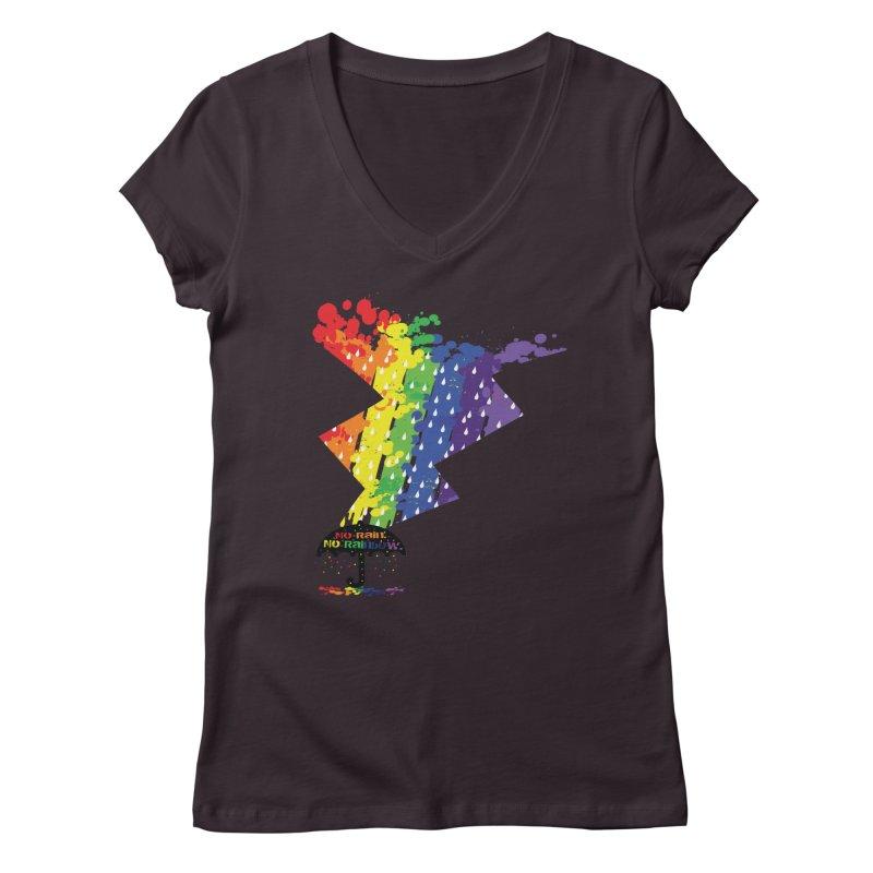 No rain no rainbow Women's V-Neck by cindyshim's Artist Shop