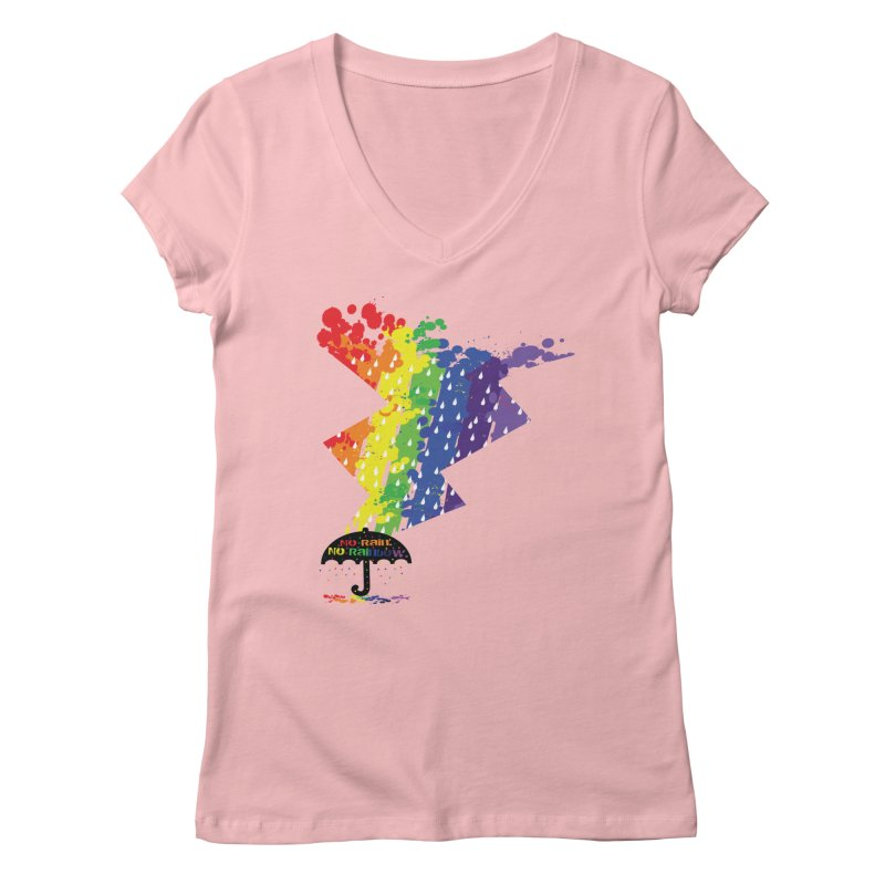 No rain no rainbow Women's Regular V-Neck by cindyshim's Artist Shop