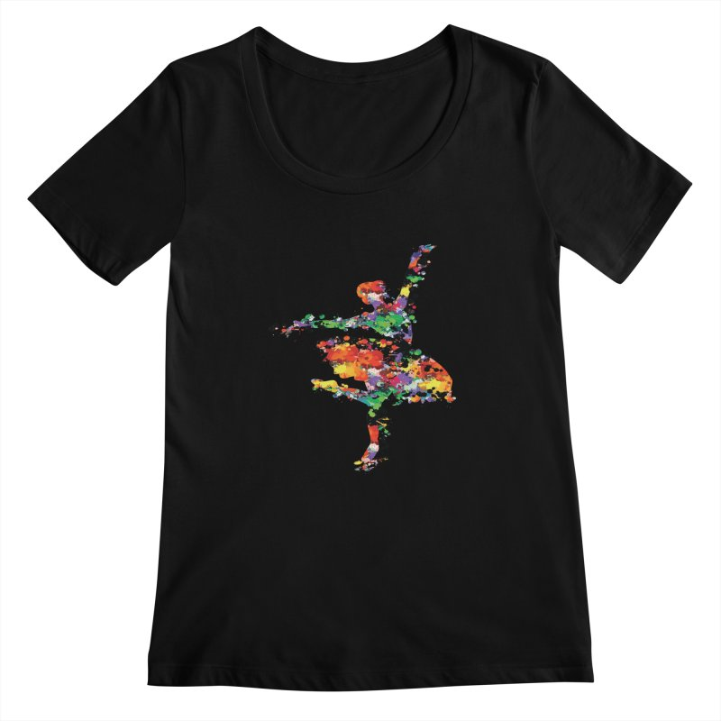 splash ballerina Women's Scoopneck by cindyshim's Artist Shop