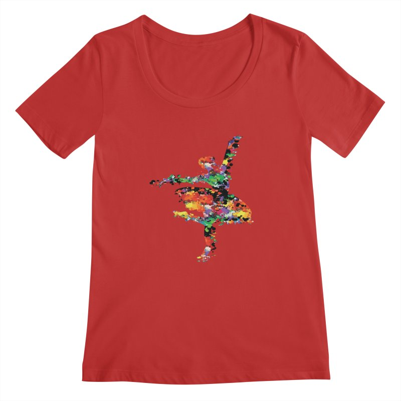 splash ballerina Women's Scoopneck by cindyshim's Artist Shop