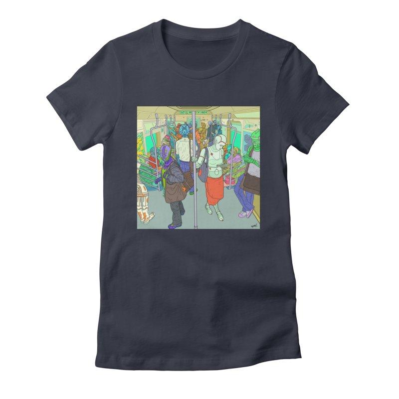 robot slaves in full color Women's Fitted T-Shirt by shinobiskater's Artist Shop