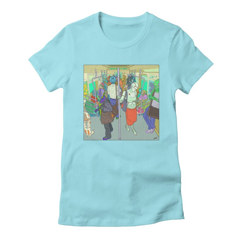 robot slaves in full color Women's Fitted T-Shirt by shinobiskater's Artist Shop