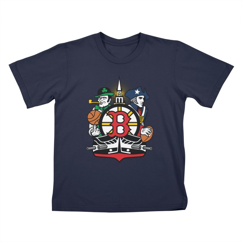 Boston Sports Fan Crest Kids T-Shirt by Citizen Pride