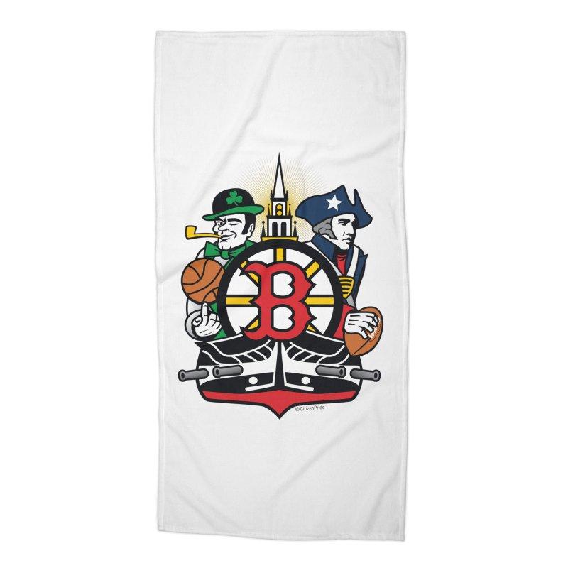 Boston Sports Fan Crest Accessories Beach Towel by Citizen Pride