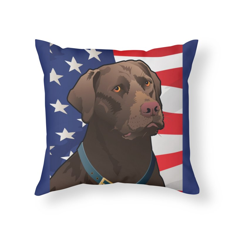 American Chocolate Lab Home Throw Pillow by Citizen Pride