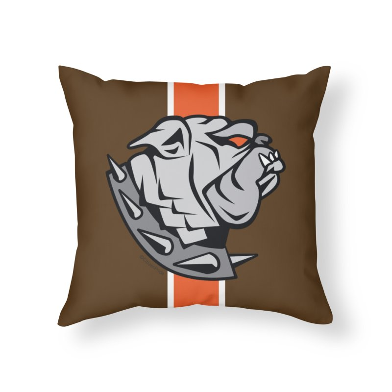 Cleveland Browns Bulldog Crest Home Throw Pillow by Citizen Pride