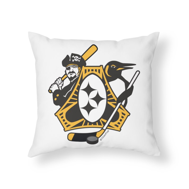 Pittsburgh-Three Rivers Roar Sports Fan Crest Home Throw Pillow by Citizen Pride