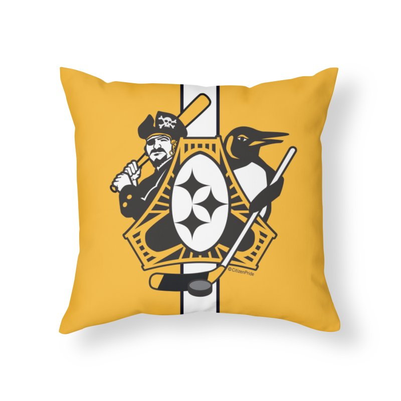 Pittsburgh-Three Rivers Roar Sports Fan Flag Home Throw Pillow by Citizen Pride