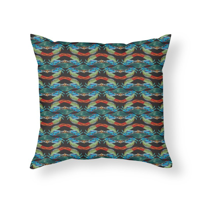 Blue Crabs Pattern Home Throw Pillow by Citizen Pride