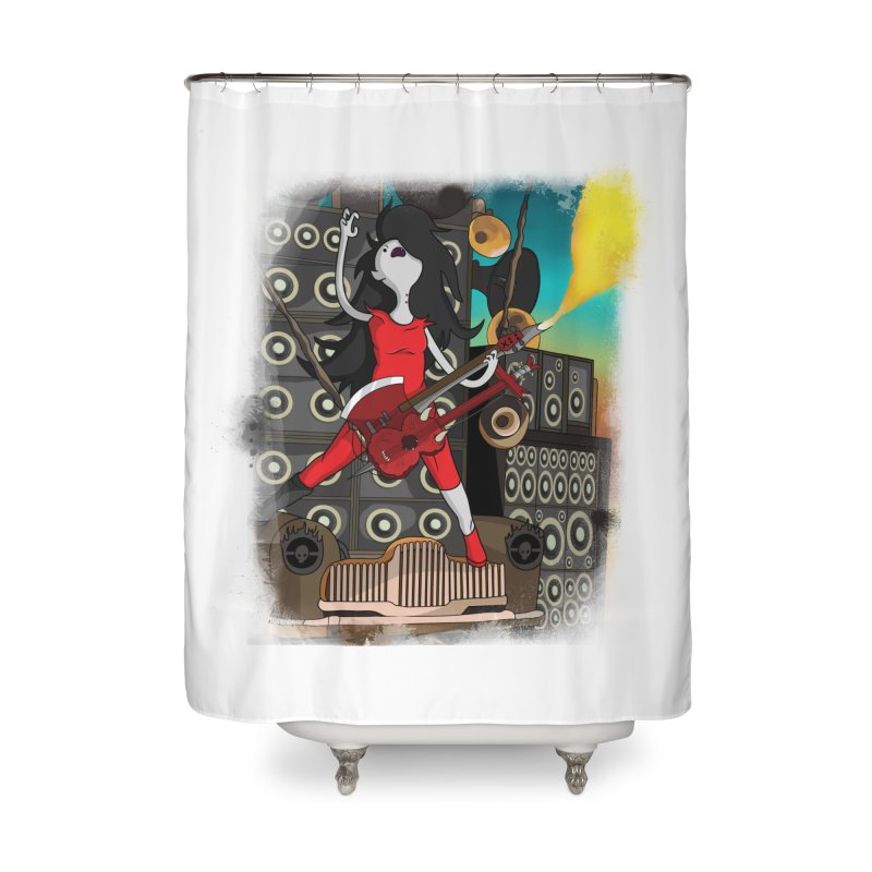 THE FLAMETHROWING GUITAR Home Shower Curtain by City of Pyramids's Artist Shop