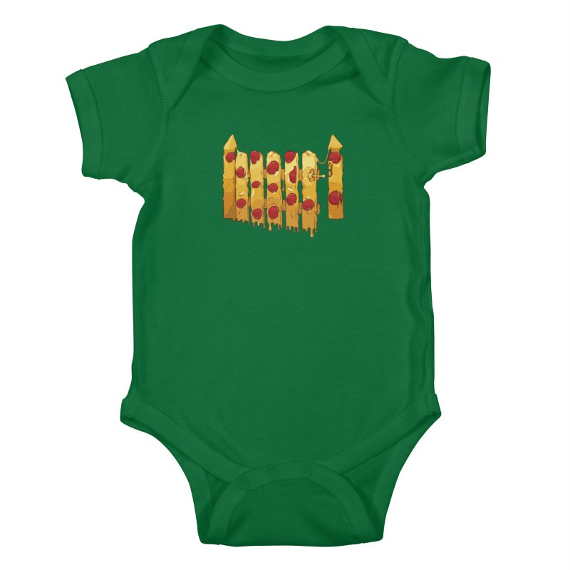 Pizza Fence Kids Baby Bodysuit by City of Pyramids's Artist Shop