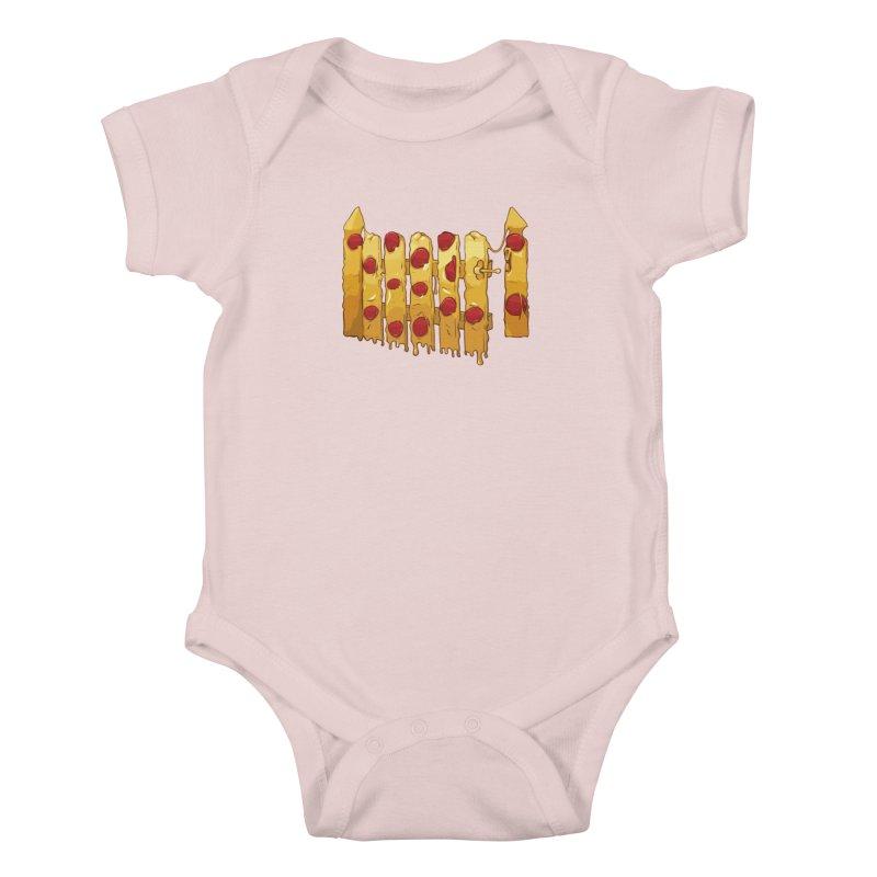 Pizza Fence Kids Baby Bodysuit by City of Pyramids's Artist Shop